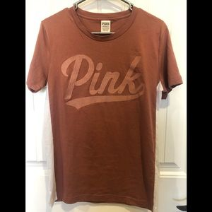 VS PINK dusty rose varsity tee NWOT